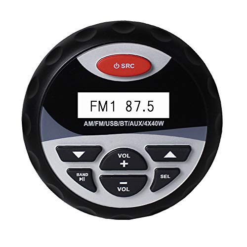 RISHENG Impermeable Motocicleta Barco Bluetooth Estéreo Radio Barco Audio Receptor FM Cargador USB Reproductor de MP3 AUX RCA para el Coche SPA ATV UTV