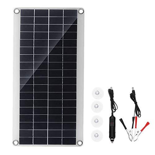 Tiamu Panel Solar 25W 12V Doble USB Tablero de Banco de EnergíA PortáTil Carga de BateríA Externa Tablero de CéLula Solar Clips de Cocodrilo Cargador de Coche