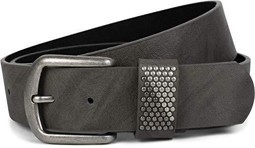 styleBREAKER cinturón con remaches bicolores en el pasador, cinturón de remaches, acortable, unisex 03010088, tamaño:85cm, color:Gris oscuro
