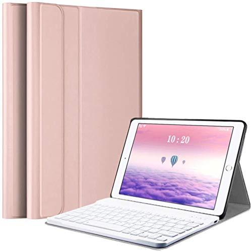 Funda con Teclado para iPad 10.2 2020(8ª Gen)-iPad 10.2 2019(7ª Gen)-iPad Air 3 10.5 2019-iPad Pro 10.5 2017 (Español Ñ), Carcasa con Soporte y Teclado Bluetooth Magnético Desmontable, Oro Rosa