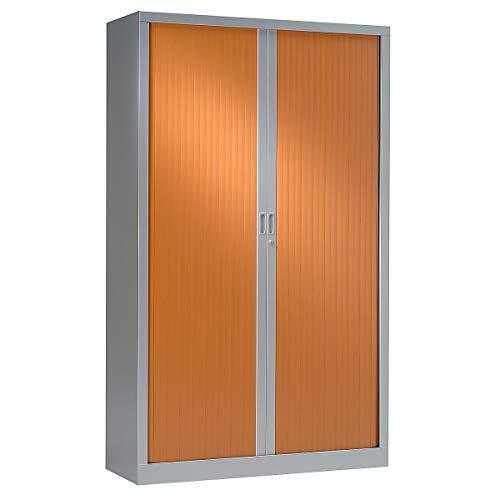 Armoire Monobloc à rideaux | Aluminium | Merisier | HxLxP 1980 x 1200 x 430 | Certeo