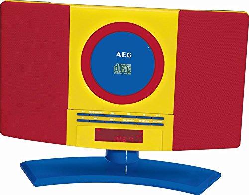 AEG CD-Player Kinder Musikanlage Stereoanlage Radio MP3 Wiedergabe Wecker (Wandmontage, Kopfhöreranschluss, LCD-Display, Weckfunktion, Radiowecker, Bunt)