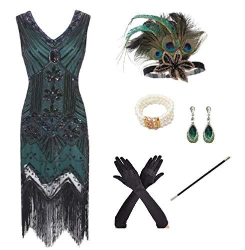 shoperama 20er Jahre Charleston Flapper Damen-Kostüm Grün/Schwarz Pailletten-Kleid mit Fransen und 5-TLG. Pfau Zubehör-Set, Größe:M