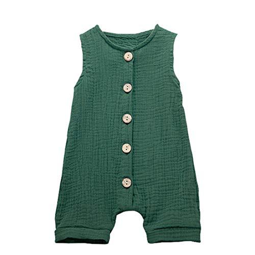 3 Months - 2Years Children's Kids Baby Girls Boys Summer Sleeveless Button Ruffles Solid Color Jumpsuit Cotton and Linen Vest Romper Green (Green, 18-24 Months)