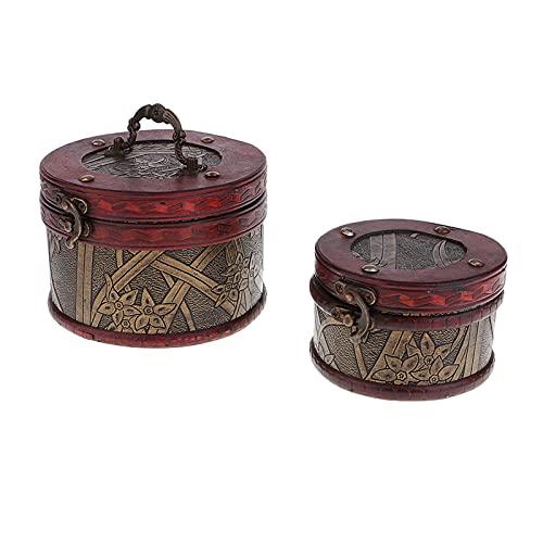 JIEERCUN 2 unids Vintage joyería de Madera Caja de Almacenamiento del Tesoro Organizador del Pecho Regalos Diámetro Diámetro 10.5 14cm Cajas de joyería (Color : A)