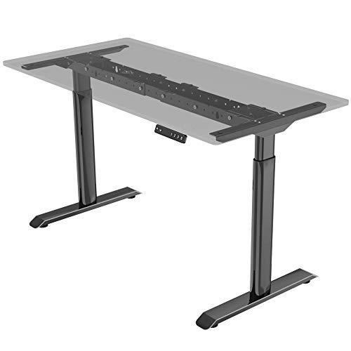 E.For.U® Q6 Elektrisch höhenverstellbarer Schreibtisch (Dualer Motor, Schwarz) höhenverstellbares Tischgestell 2 Motoren,2-Fach-Teleskop, mit Memory-Steuerung (Schwarz)
