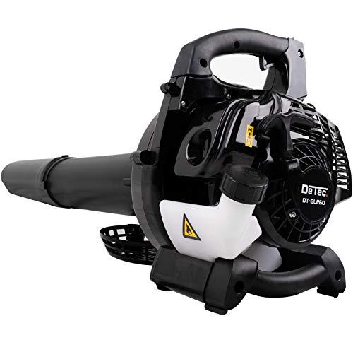 DeTec DT-BL260 - Aspirador de hojas de gasolina con bolsa, correa y asa para transporte y asa, incluye práctico triturador con regulador de velocidad