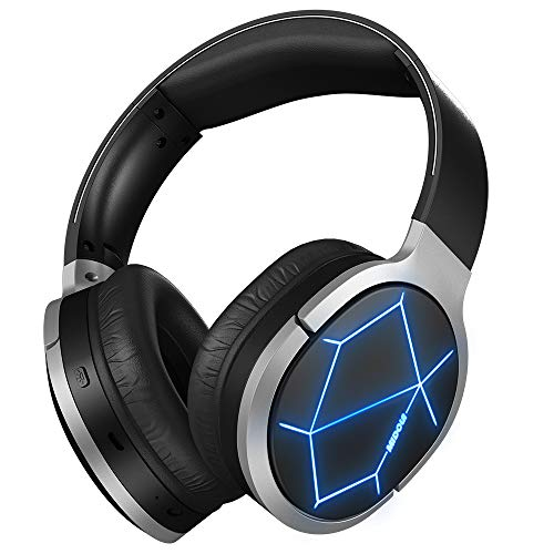 Midola Headphone Bluetooth 5.0 Wireless LED Light DJ Over-Ear Foldable w/Mic Hi-Fi Audio, Deep Bass, Soft Protein Ear Cups 30-35H Playtime for Travel Home Office Cellphone Pad Notebook Black
