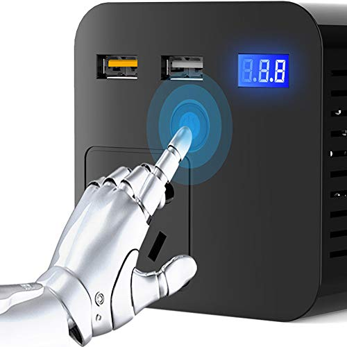 wansosuper Wechselrichter 200W,Reiner Sinus Wechselrichter,Kfz-Wechselrichter, Spannungswandler, Wechselrichter 12 / 24V Auf 220V SchnellladegeräT QC3.0, FüR Kfz-Transformator 12V Auf 220V,Black-12V