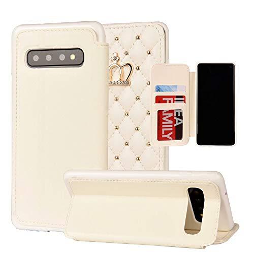 Miagon Diamant Brieftasche Hülle für Samsung Galaxy S10 Plus,Krone Niet Design PU Leder Klapphülle Ständer Kartenfach Flip Case Cover Schutzhülle,Weiß