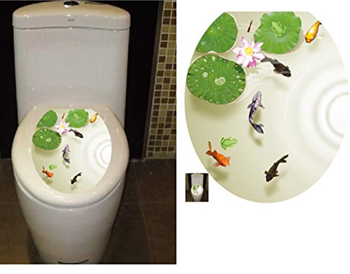 BIBITIME Bathroom Toilet Seat Cover Decals Sticker Vinyl Toilet Lid Decal Decor (12.99
