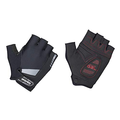 GripGrab Unisex s SuperGel Half Padded Short Finger Summer Cycling Gloves Comfortable Cushioned Fingerless Pull-Off Tabs, Black, L