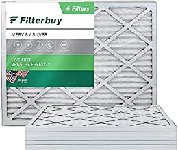 FilterBuy 20x25x1 Air Filter MERV 8, Pleated HVAC AC Furnace Filters (6-Pack, Silver)
