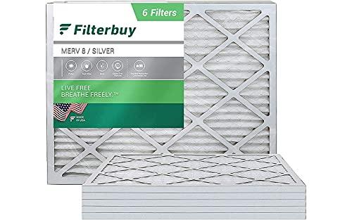 FILTERBUY 20X23X1 공기 필터 MERV 8 PLEATED HVAC AC 용광로 필터 (6 팩 실버)