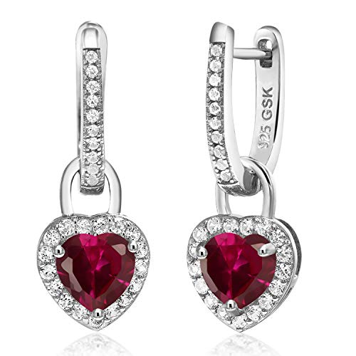 Gem Stone King 925 Sterling Silver Red Created Ruby and White Created Sapphire Women Earrings, 2.42 Ct Heart Shape 6MM