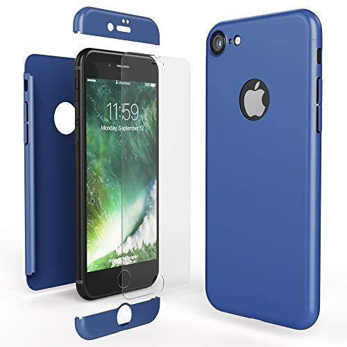 NALIA Custodia Integrale compatibile con iPhone 7, Cover Protettiva Fronte e Retro & Vetro Temperato, Case Rigida Protezione Telefono Cellulare Bumper Sottile, Colore:Blu