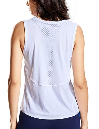 CRZ YOGA Workout Tanks Top for Women Relaxed Fit Sleeveless Tops Yoga Shirts White_r757 S