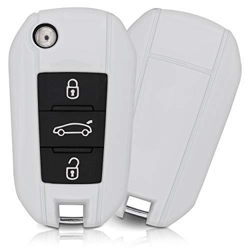 ASARAH ABS Schlüsselhülle für Citroen mit edler Lackierung, Schutzhülle für Autoschlüssel Cover für Schlüssel-Typ CI 3BKB-b - Weiß
