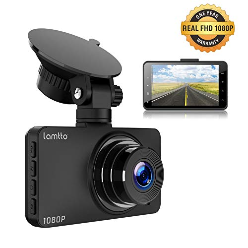 Lamtto Dash Cam 1080P FHD Dash Cameras 3 Inch Rechargeable Car Video Recorder Dashboard with Parking Monitor Motion Detection G-Sensor Loop Recording