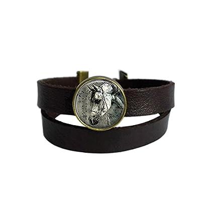LooPoP Vintage Punk Dark Brown Leather Bracelet Horse Nature Animal Black and White Belt Wrap Cuff Bangle Adjustable