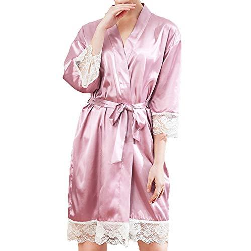 Juleya Frauen Sexy Lace Up Nachtwäsche Babydoll Dessous Nachthemd Pyjamas Frauen Kurze Kimono Bademantel Blass Rosa Grau L