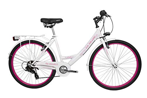 T&Y Trade 26 Zoll Kinder Damen MÄDCHEN City Fahrrad MÄDCHENFAHRRAD CITYFAHRRAD DAMENFAHRRAD CITYRAD DAMENRAD MÄDCHENRAD KINDERFAHRRAD Rad Bike 7 Shimano Gang Reflex WEIß Rosa