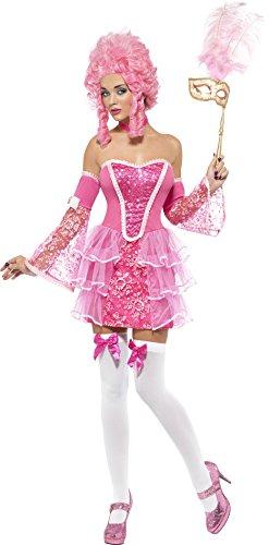 Smiffys, Fever, dames Marie Antoinette Sparkle kostuum, jurk, mouwen en halsband, maat: XS