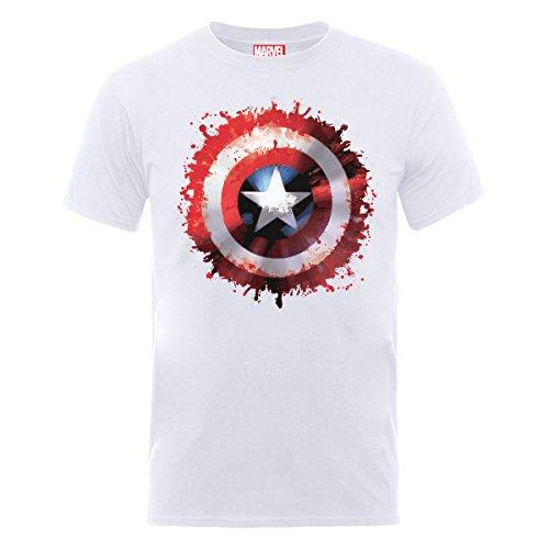 Marvel Avengers Assemble Captain America Art Shield T-Shirt, Bianco(White), M Uomo