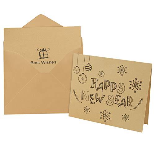 FEPITO 36 Pièces Cartes de voeux de bonne année avec 36 enveloppes et 36 autocollants