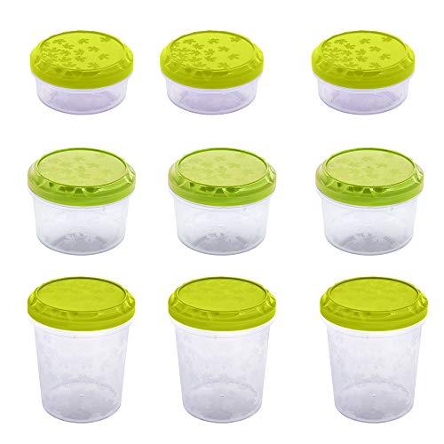 BranQ - Home essential Rukkola Twist Aufbewahrungsdosen/Frischhaltedosen 9tlg, Plastic, Grün, Verschiedene Größen