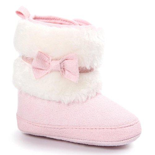 Clode Kleinkind Baby Mädchen Warm halten Doppelstock-Quasten Schneestiefel Weiche Sohlen Krippe Schuhe Kleinkind-Stiefel (11/0~6 Monate,...