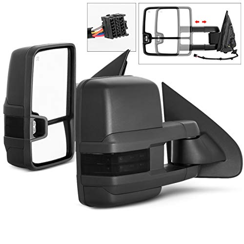 For 14-20 Chevy Siverado Smoke Extendable Towing Power Heated Function Side Mirrors Left + Right Pair