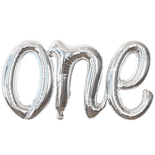 Silver One Birthday Balloon for First Birthday Decorations - 20 Inch | Silver Script Number One Balloon for First Birthday | Number One Balloons for 1st Birthday for 1st Birthday Girl Decoration