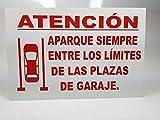 Cartel de metal de 30x20 cm Aparque entre los límites de la plaza de garaje. Aviso de no pisar las líneas del aparcamiento para dejar espacio para los demás usuarios.