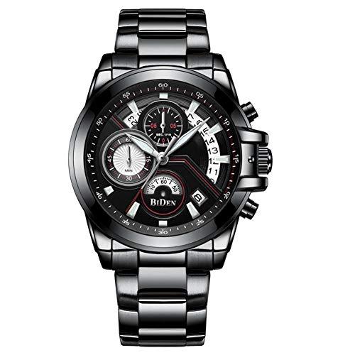 BIDEN Mode heren metaal waterdicht kwarts horloge verstelbare armband accessoires mode grote wijzerplaat nonchalant drie-oog multifunctioneel horloge 款式 B.