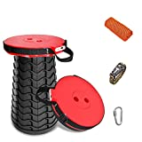 heibond Upgraded Folding Stool with Power Bank Function, Max Load 400lbs Portable Retractable Stool with Cooling Towel, Survival Bracelet and Carabiner Clip, for Camping/Fishing/Hiking/Traving/BBQ
