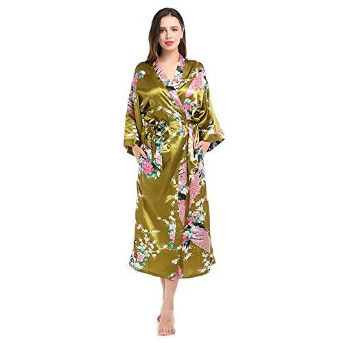 Pyjama Damen Nachthemd Schlafanzug Frauen Sexy Lange Seide Kimono Bademantel Bad Dessous Gürtel Bad Robe Nachthemd Dame Nachthemd M Braun