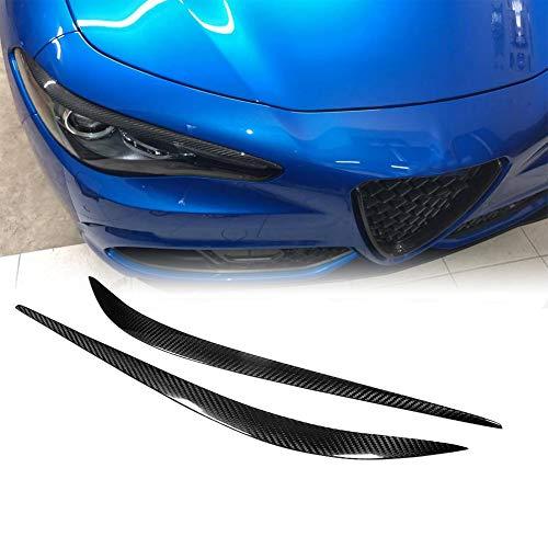 TGFOF Karbonfaser Auto Frontscheinwerfer Augenbrauen Augenlidern Rahmen Lichtabdeckung Trim Aufkleber für Romeo Giulia Quadrifoglio/Base/Quadrifoglio Verde/TI Sedan 2015–2019