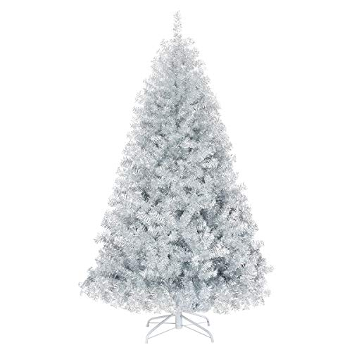 GOFLAME 6 FT Artificial Christmas Tree Hinged with 1036 Branch Tips, Silver Tinsel Christmas Tree with Metal Stand, Electroplated Technology for Indoor and Outdoor Holiday Decoration