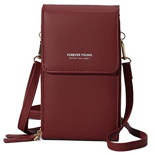 Pequeño bolso bandolera para teléfono móvil, para mujer, para pantalla táctil, monedero, bolso de mano, monedero con tarjetero, correa para el hombro