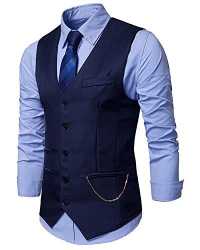 JOLIME Chaleco Hombre Traje Vintage Banquete Ceremonia Boda Casual Blazers Sin Mangas con Cadena Azul Marino S