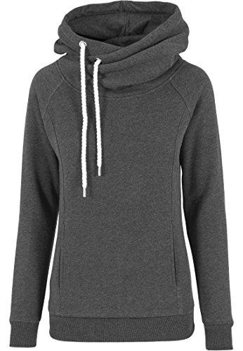 Urban Classics Damen Pullover Pullover Raglan High Neck Hoody schwarz (Charcoal) Small
