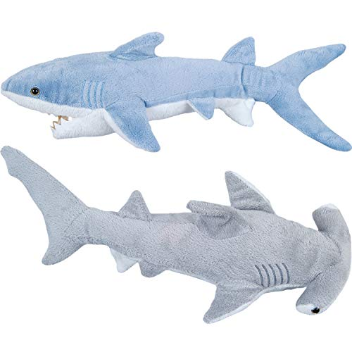 Bedwina Stuffed Animal Sharks - Pack of 2 Large, 14 inch Mako & 13 inch Hammerhead Plush Shark Toys, Stuff Animals Toy, for Baby Toddlers & Kids