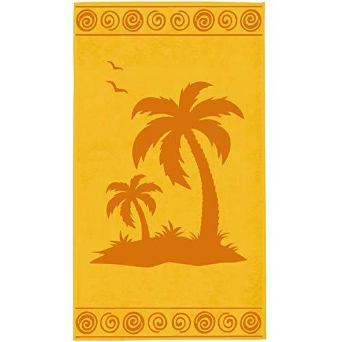 Delindo Lifestyle® Frottee Strandtuch Tropical Palm Yellow, 100{942abf15a54ef6f04cb36483be303997e41d9381a4161407960ce93406e2e166} Baumwolle, Strandlaken 100 x 180 cm