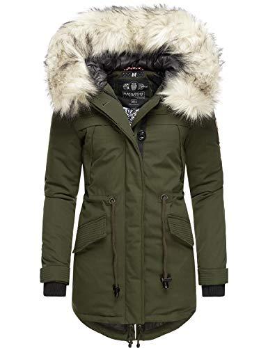 Navahoo, Lady Like, Cappotto invernale da donna con pelliccia sintetica rimovibile, 6 colori XS – XXL verde S