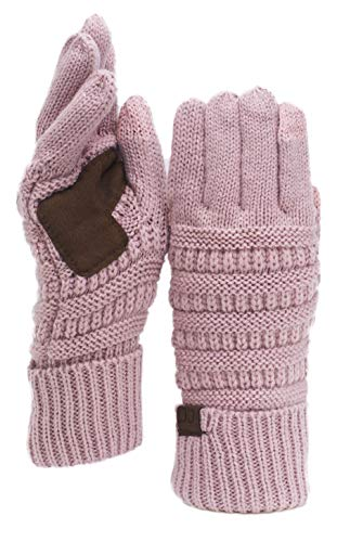 C.C Unisex Cable Knit Winter Warm Anti-Slip Touchscreen Texting Gloves, Rose Metallic
