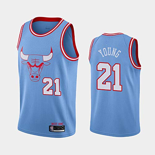 SHR-GCHAO 2021 Ocio Deporte Jersey Men's - Buckbol De La NBA Chicago Bulls # 21 Thaddeus Young, Uniforme De Baloncesto Malla Sin Mangas Classic Chaleco De Secado Rápido,Azul,S(165~170cm)