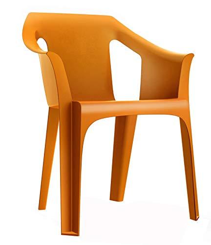 RESOL Cool Set 2 Sillas de Jardín con Reposabrazos Apilable | Terraza, Patio, Exterior, Comedor, Reuniones | Diseño Moderno Ligera y Resistente Filtro UV - Color Naranja