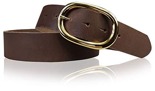 FRONHOFER Damengürtel goldene Schnalle oval, 4 cm breiter Ledergürtel, 17613, Größe:Körperumfang 100 cm / Gesamtlänge 115 cm, Farbe:Dunkelbraun
