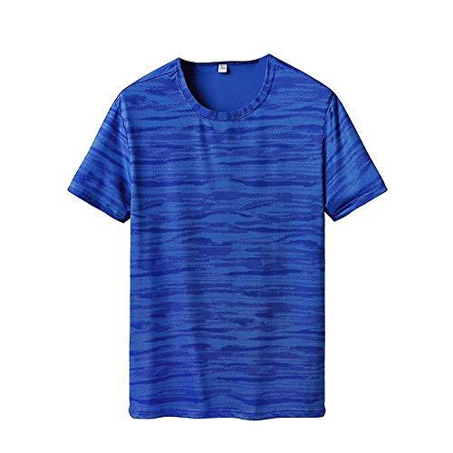CUIZC Camouflage Plus la Taille Séchage Rapide Hommes T-Shirt de Sport Casual Outdoor Manches Courtes L XL XXL 3XL 4XL 5XL 6XL - Bleu - XL